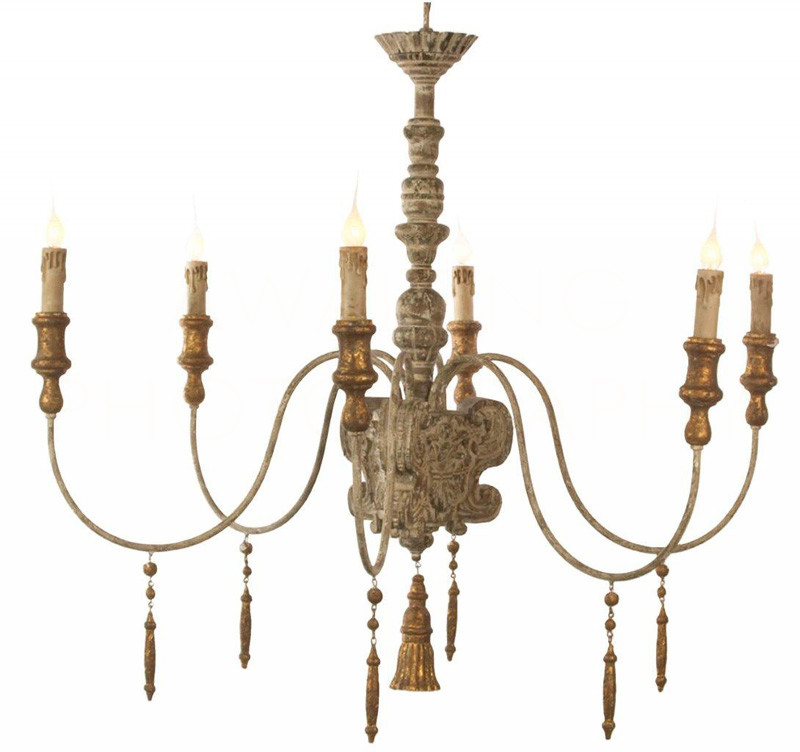 French country chandelier with carved wood column tassel finial and beads