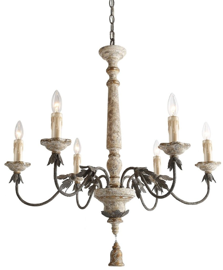 Distressed French chandelier with bell shaped tassel and six lights