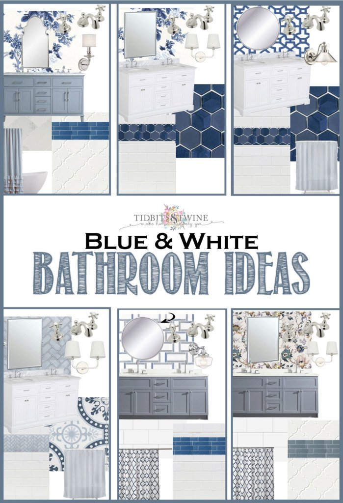 collage graphic showing six design boards for a blue and white bathroom