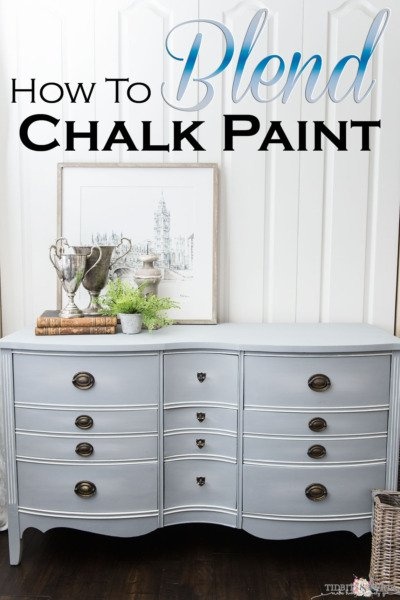how to blend chalk paint antique dresser painted gray blue