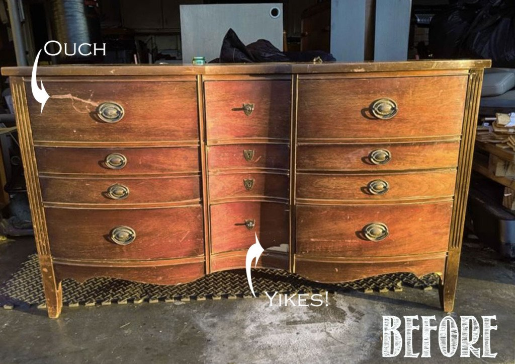 Brown antique dresser before chalk paint makeoever