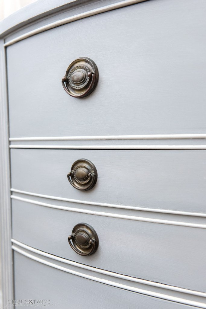 Vintage Hepplewhite drawer pulls on a gray blue chalk painted dresser with white trim