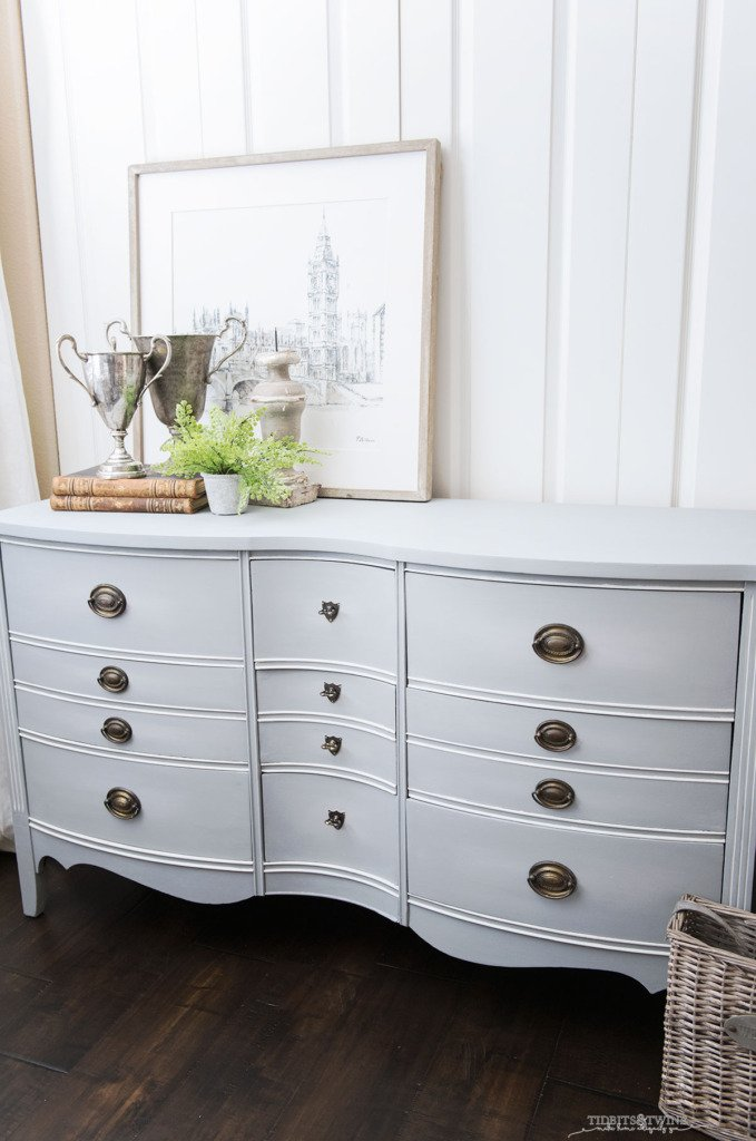 Antique dresser with gray blue chalk paint blended on drawer fronts