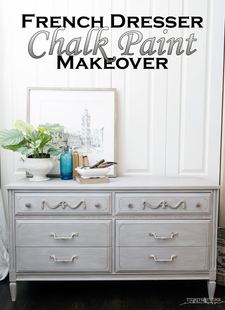Gray chalk painted french dresser DIY tutorial