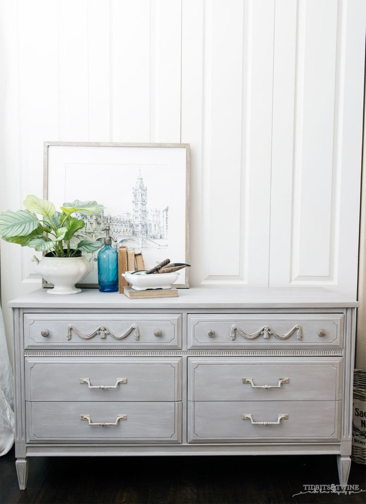 Gray chalk painted french dresser DIY tutorial with photos