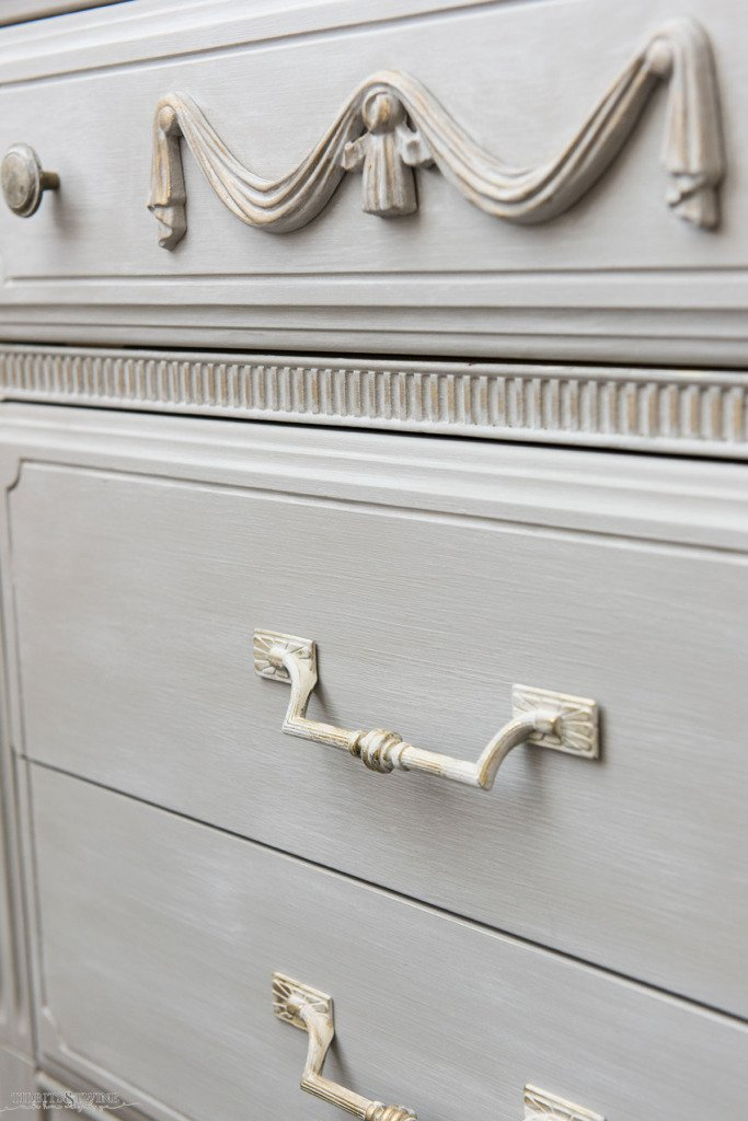 Swag onlay on a French dresser painted painted in French linen with Paris Grey wash