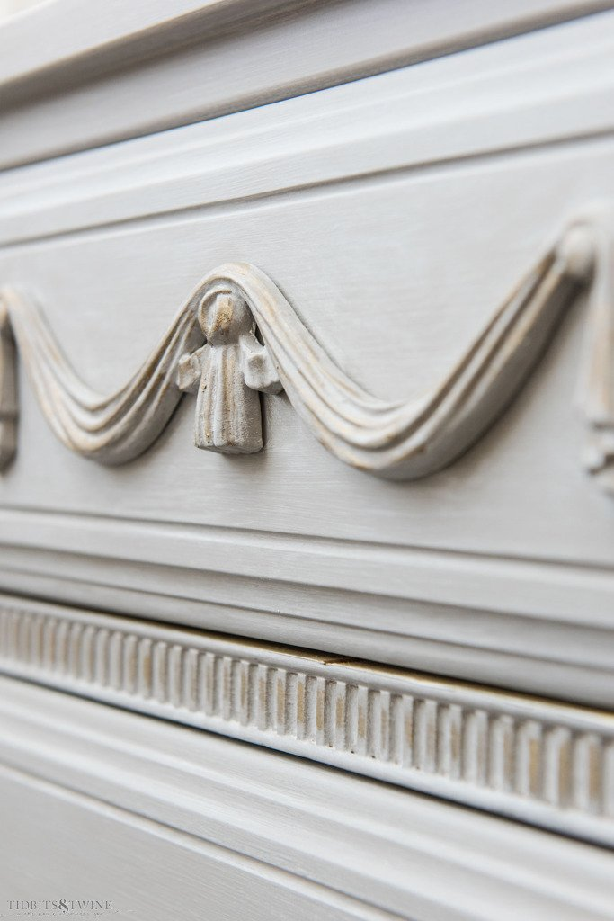 Swag onlay on a French dresser painted with Rub 'n Buff in European Gold