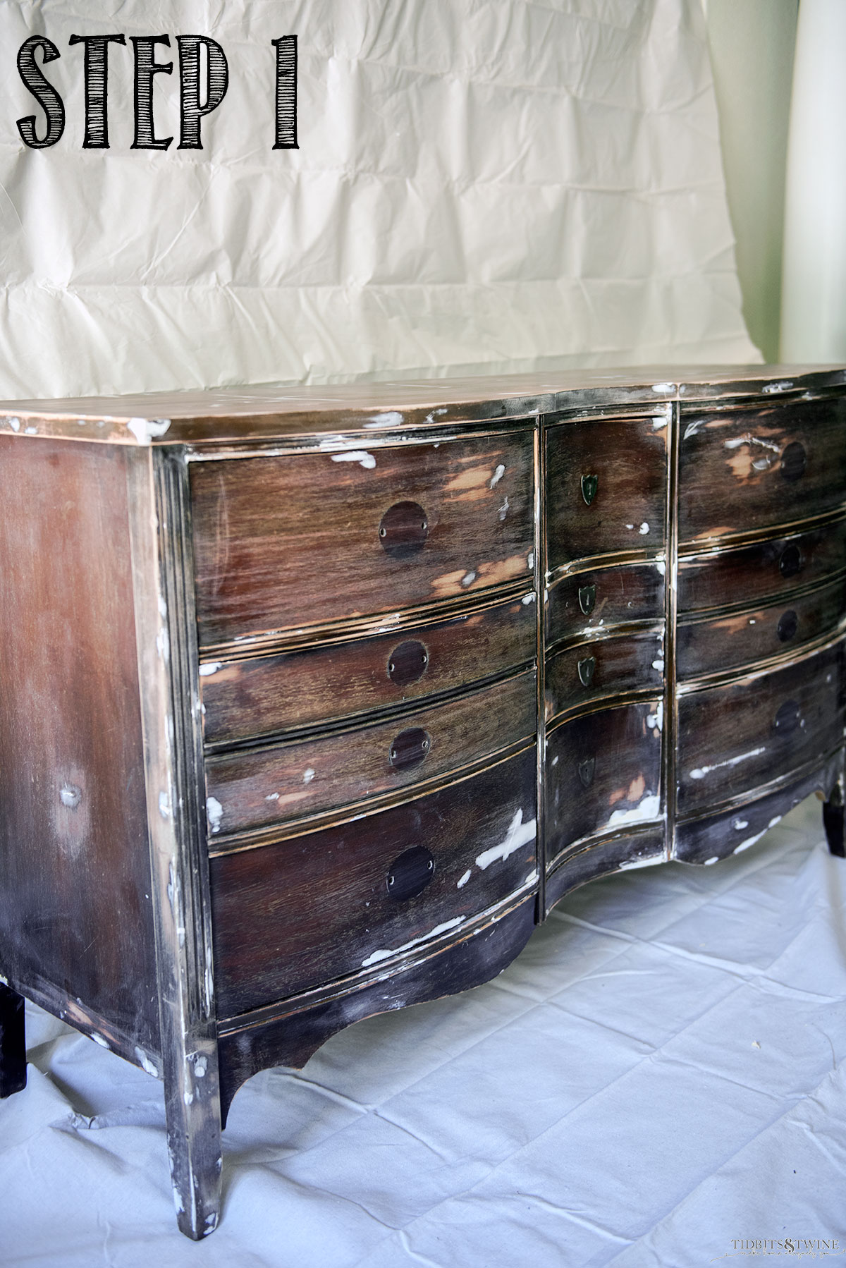 Antique Dresser makeover with wood putty and sanded