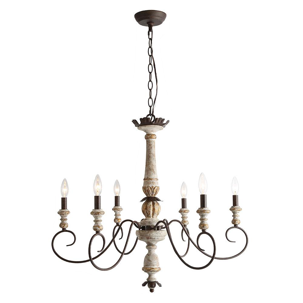 Inexpensive french country chandelier with six lights and distressed finish