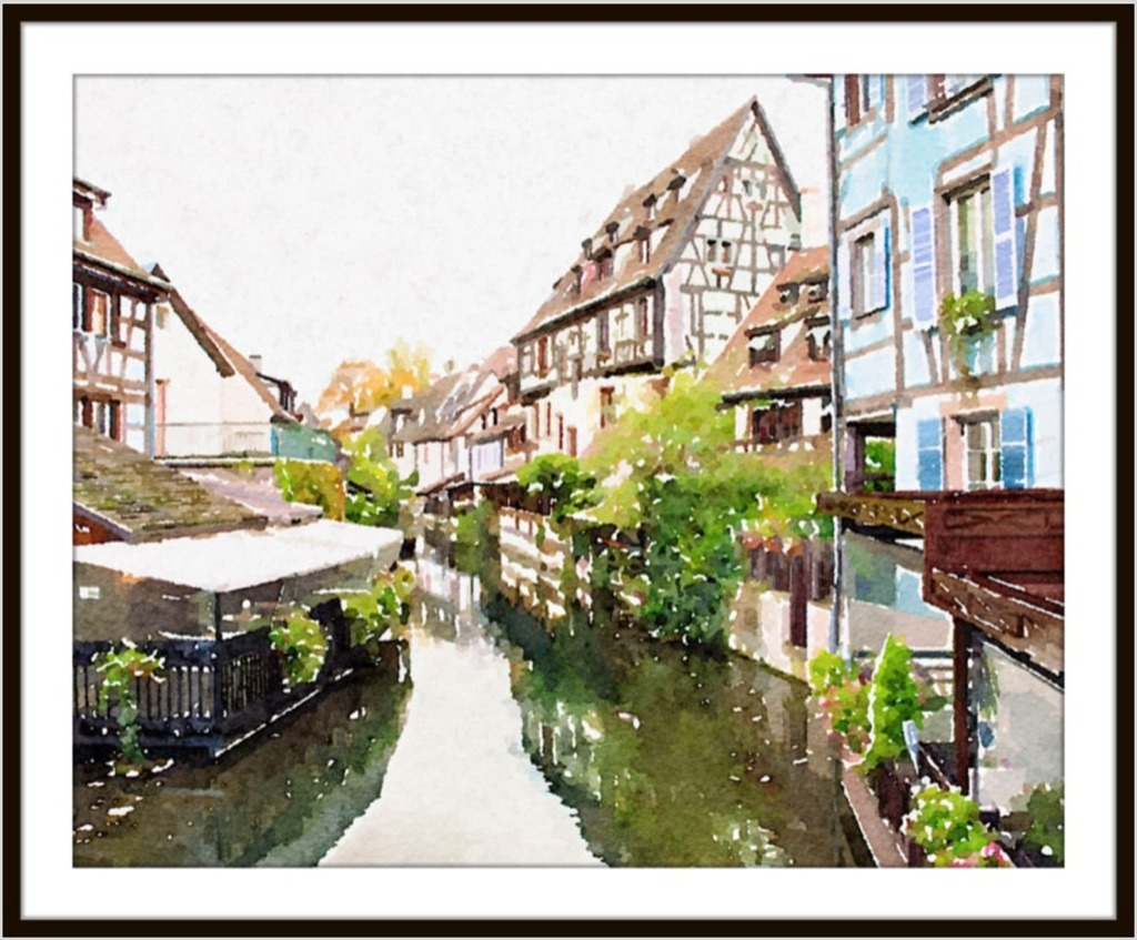 Watercolor artwork of little venice with canals and shops digital download etsy