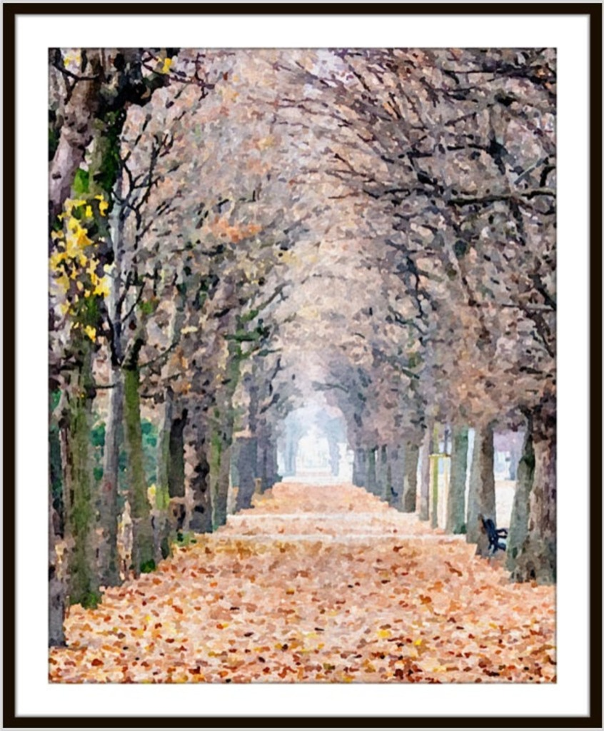 Watercolor art of a treelined path covered in leaves in Vienna