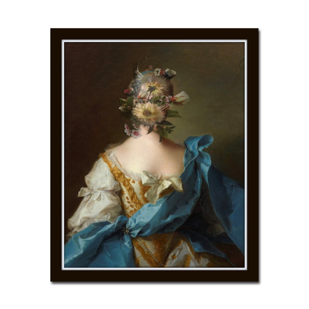 Vintage oil portrait of the back of a woman wearing a yellow dress with blue sash