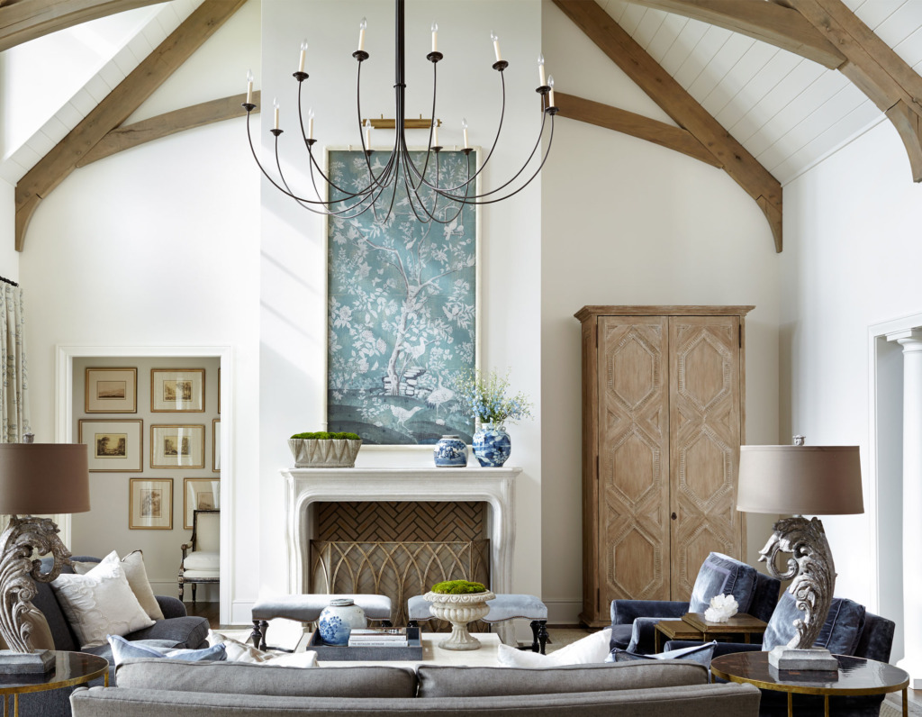 living room with cathedral ceiling mix of traditional and vintage