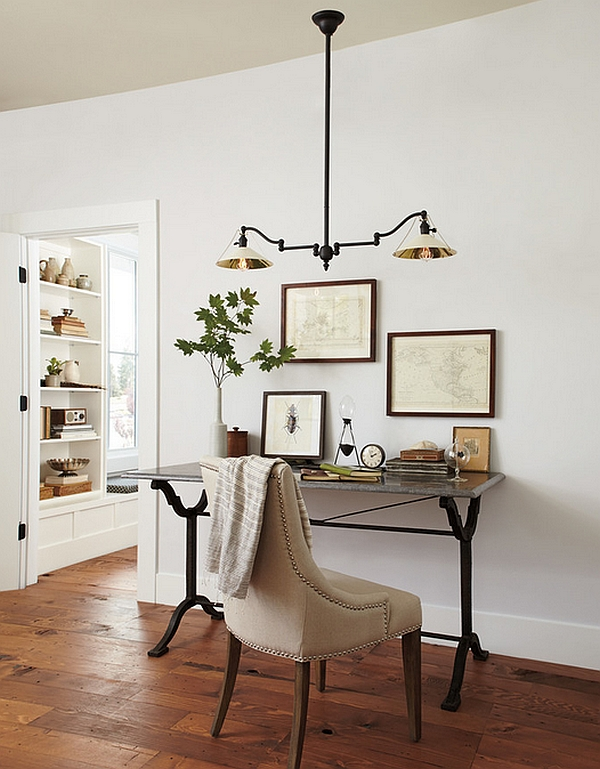 industrial home office with hanging lights above desk