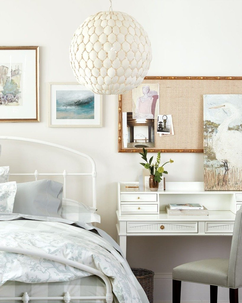 contemporary bedroom with desk as a nightstand