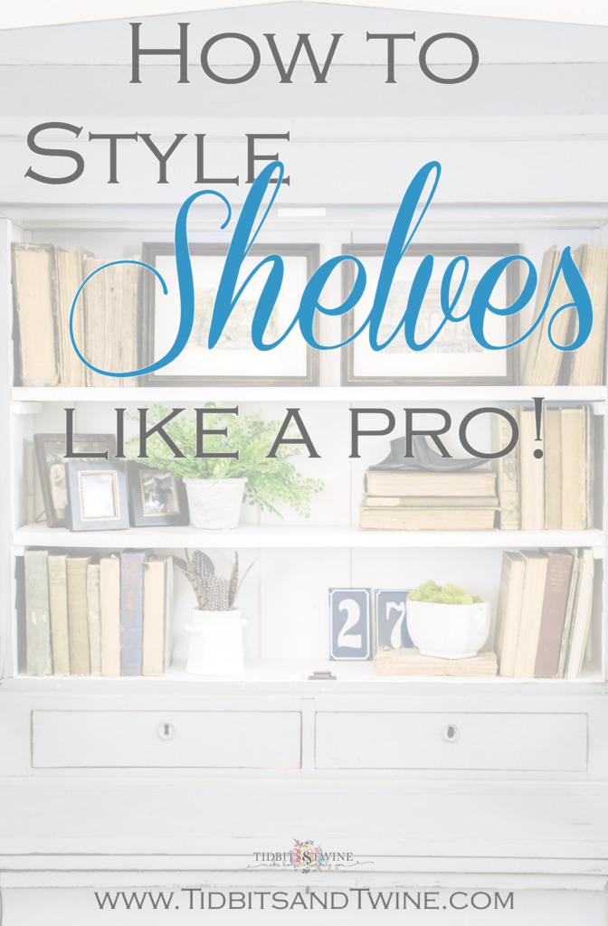 Pinterest image of french bookcase with styled shelves