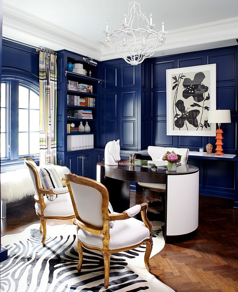 blue paneled walls in home office with contemporary and french decor