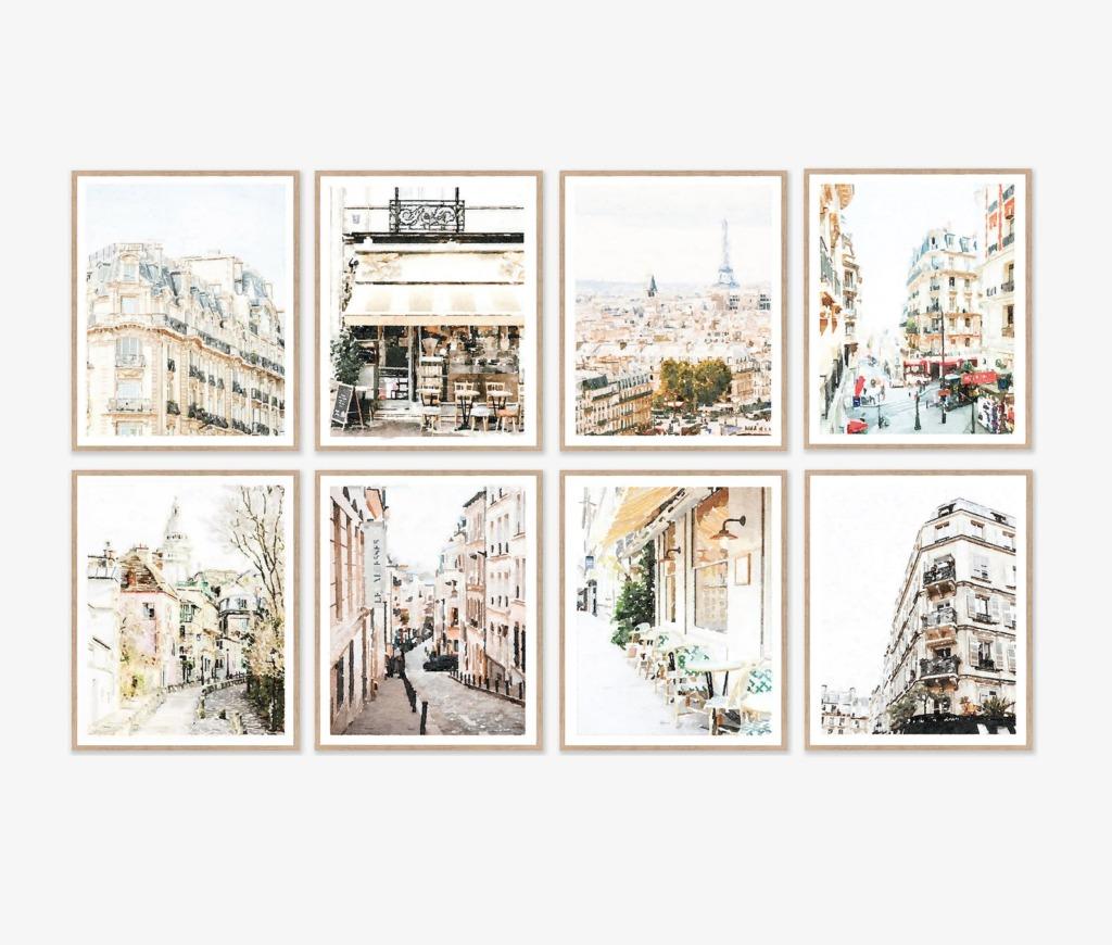 Paris digital download artwork grouping of 8 vertical orientation