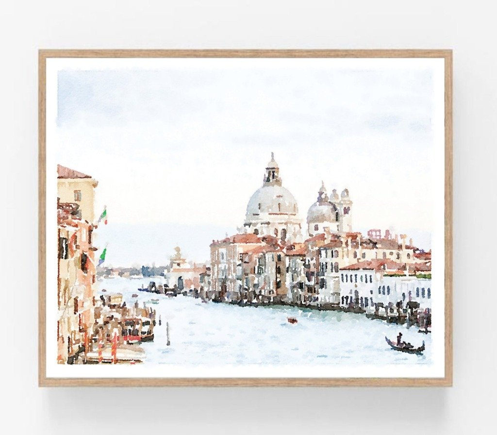 Watercolor art of Venice with boats and canals