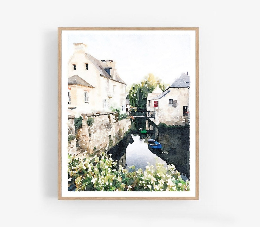 Watercolor art of a river in Normandy