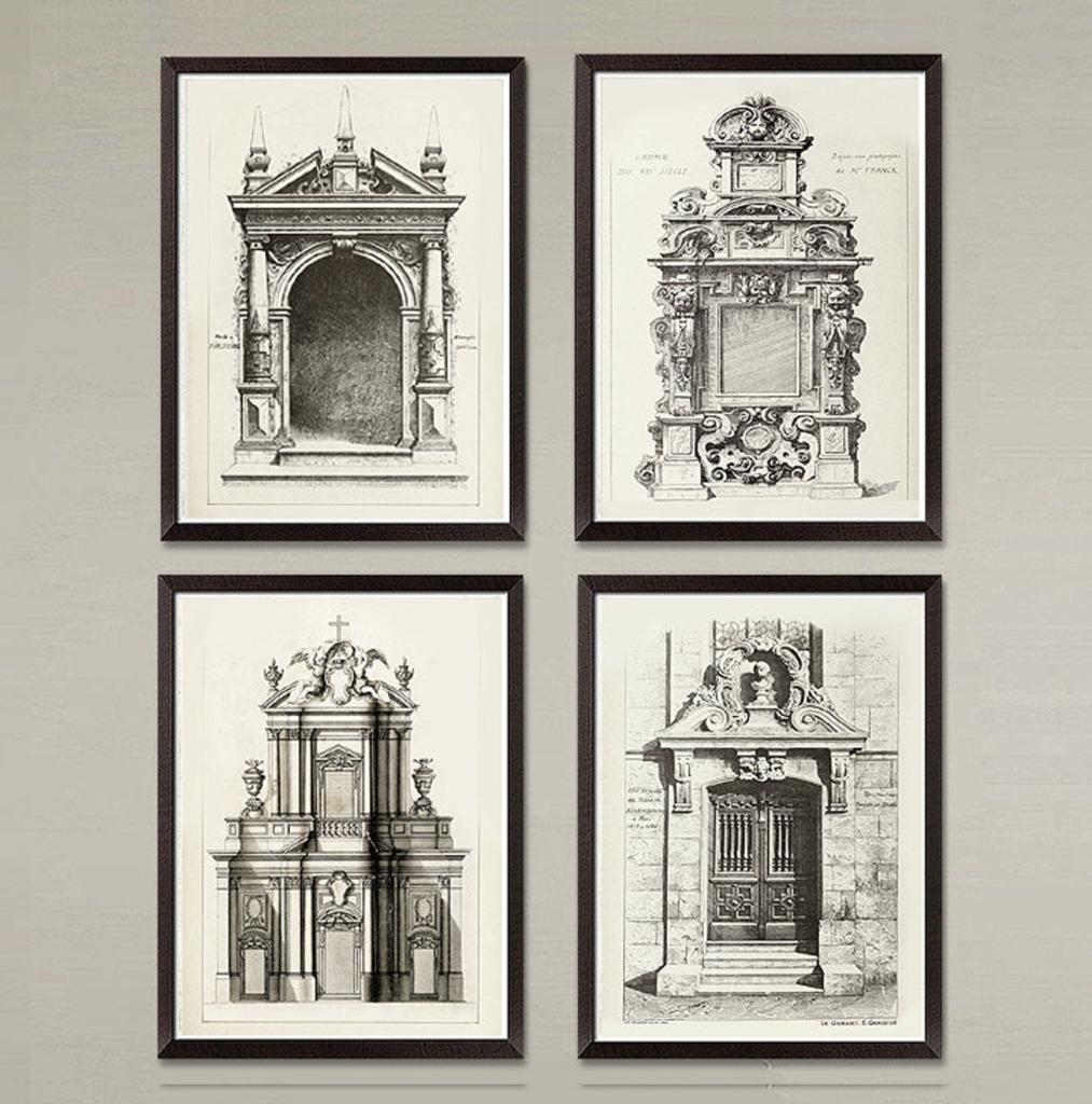 Artwork of four black and white sketches of European facades