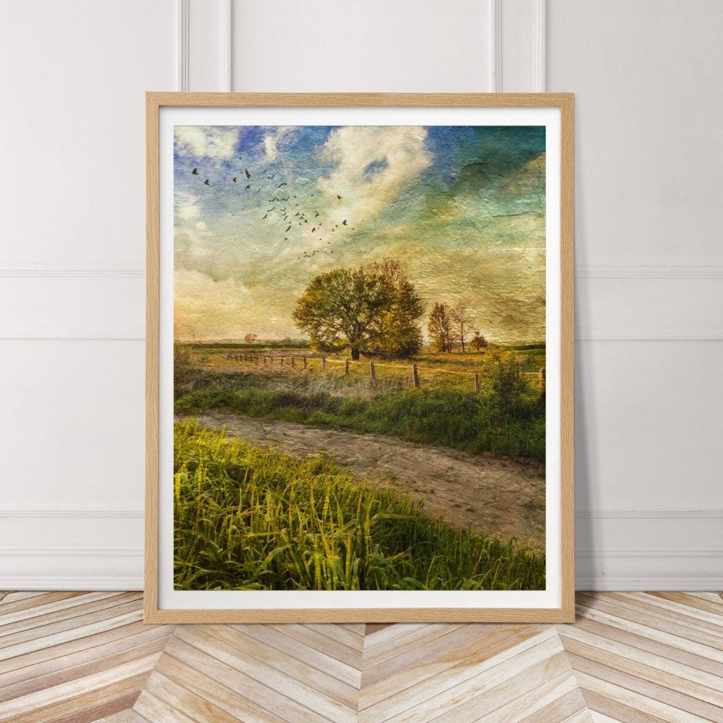 Vintage inspired landscape art of country road and trees