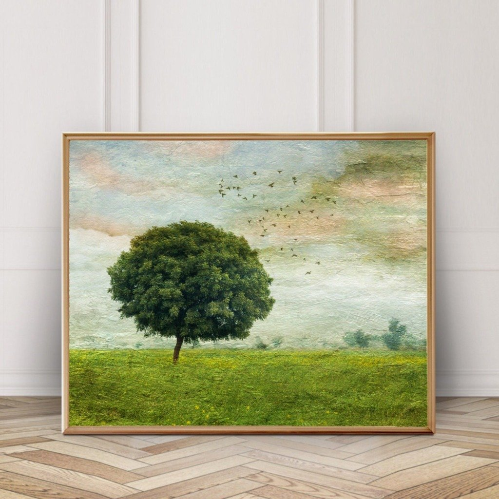 Vintage artwork of tree in a grassy field with birds