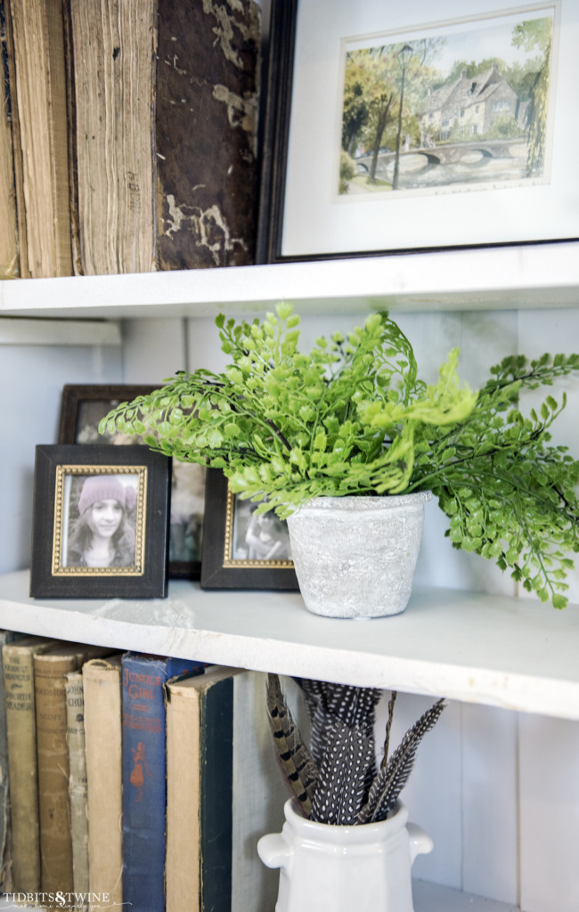 Styled shelves with antique books and feathers in an ironstone pot