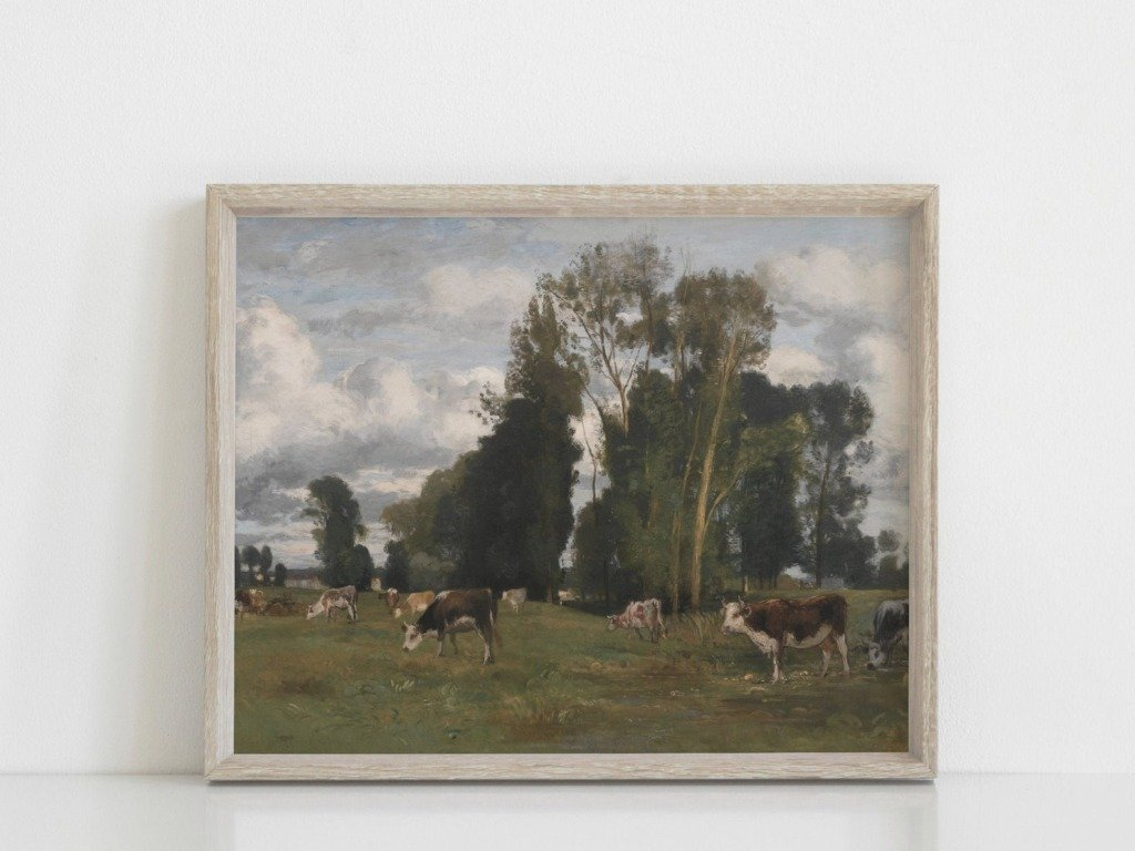 oil painting digital download of cows in a green pasture