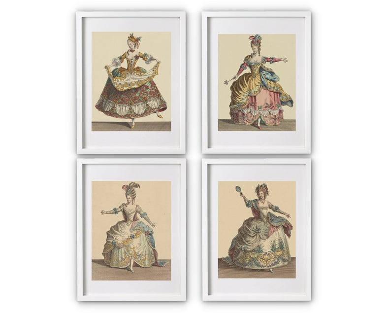 Artwork of four vintage ballet dancing women in ball gowns