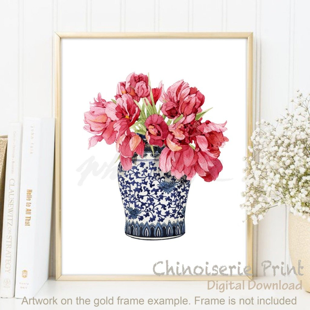 Red flowers in a blue and white chinoiserie pot digital artwork