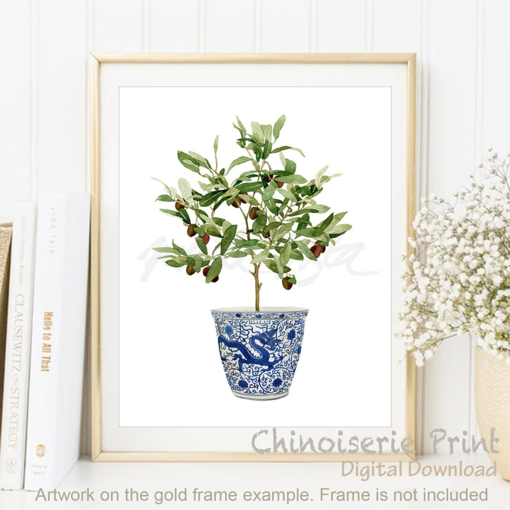 Olive topiary in a blue and white chinoiserie pot digital artwork