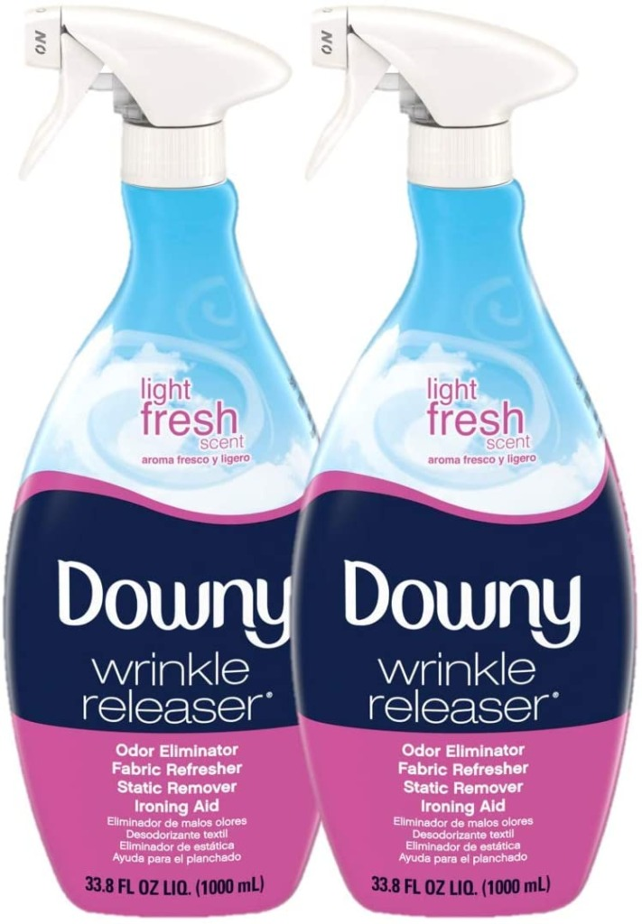 Closeup of two bottles of Downy wrinkle releaser