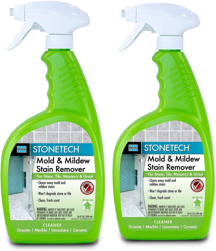 Closeup of two bottles of Stonetech Mold and Milder Stain Remover safe for natural stone