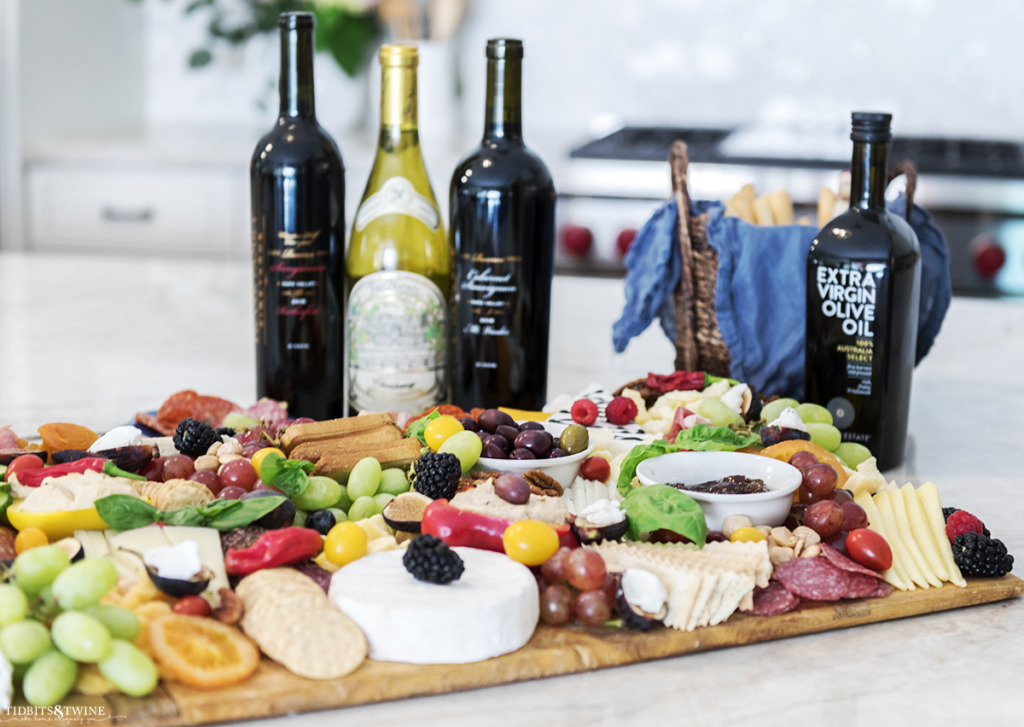 Best DIY charcuterie board paired with perfect wines on kitchen granite counter