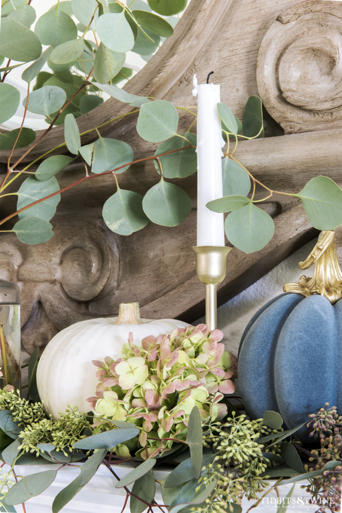 Closeup of green hydrangea head gold candlestick and little pumpkins on Fall decorated mantel