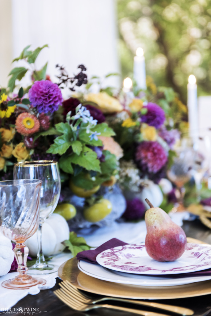 fall french dining table idea with purple pink and gold place setting