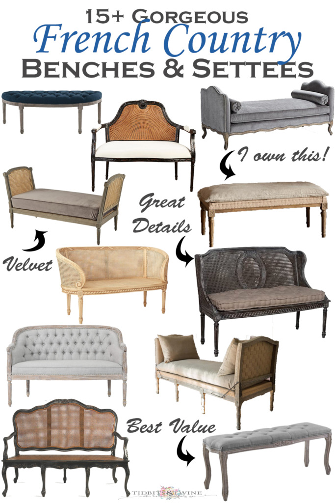 Collage image of french style benches and settees