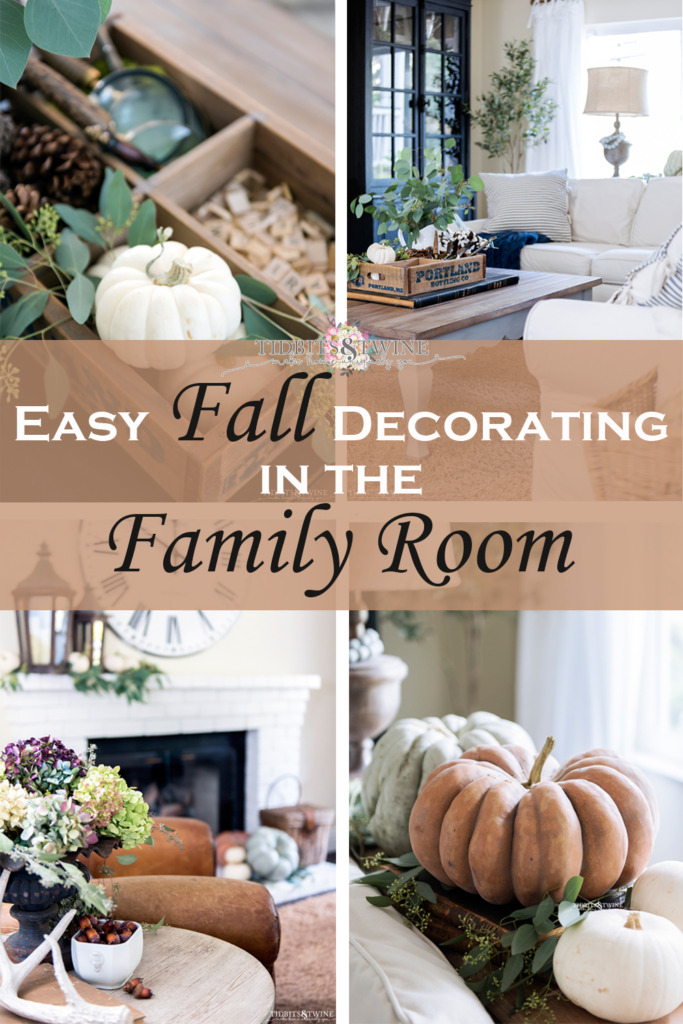 Collage of fall decorating ideas for the family room in sage, white and terracotta