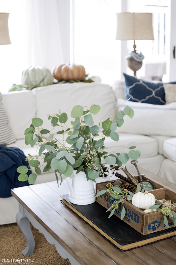 White pitcher with eucalyptus leaves on coffee table decorated for fall