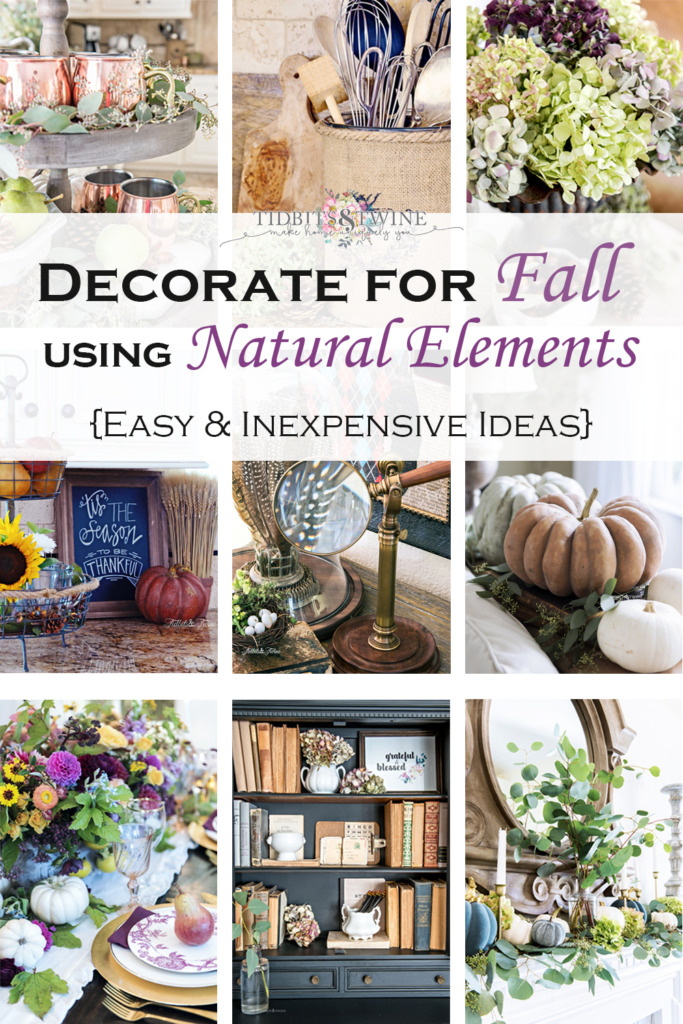 Collage of fall images showing easy fall decorating using natural elements