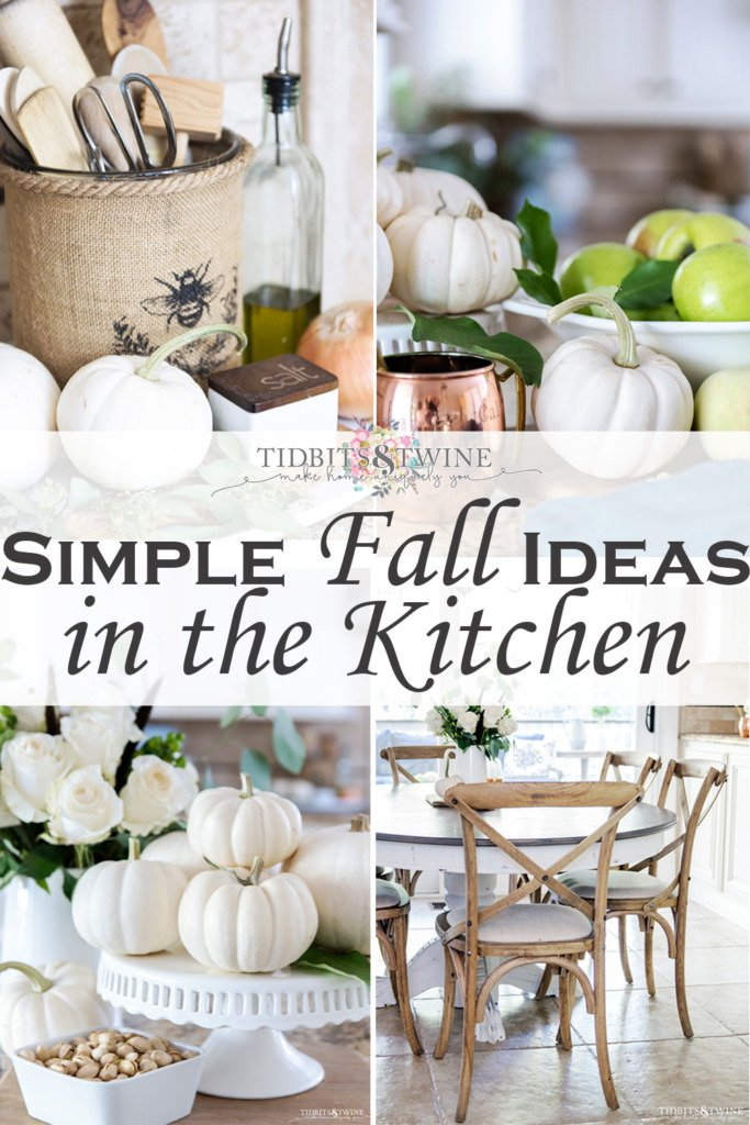 Collage of four pictures that depict Fall decorating in the kitchen