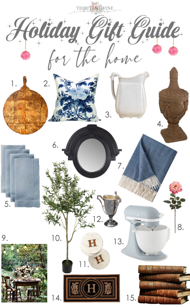 Collage of French style home decor items for gift giving.