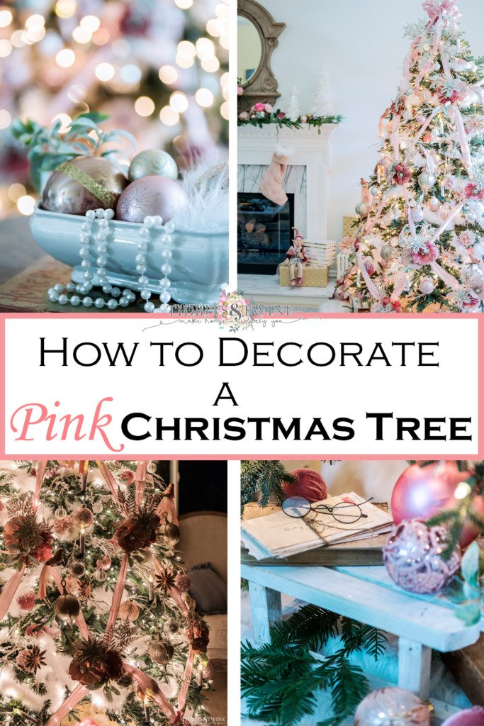 Collage of four images showing how to decorate a pink Christmas tree with crisscross ribbon and a French style