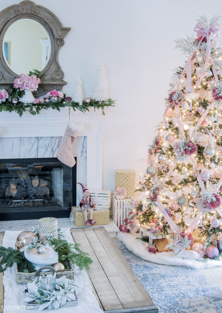Living room Christmas decor in pink and white