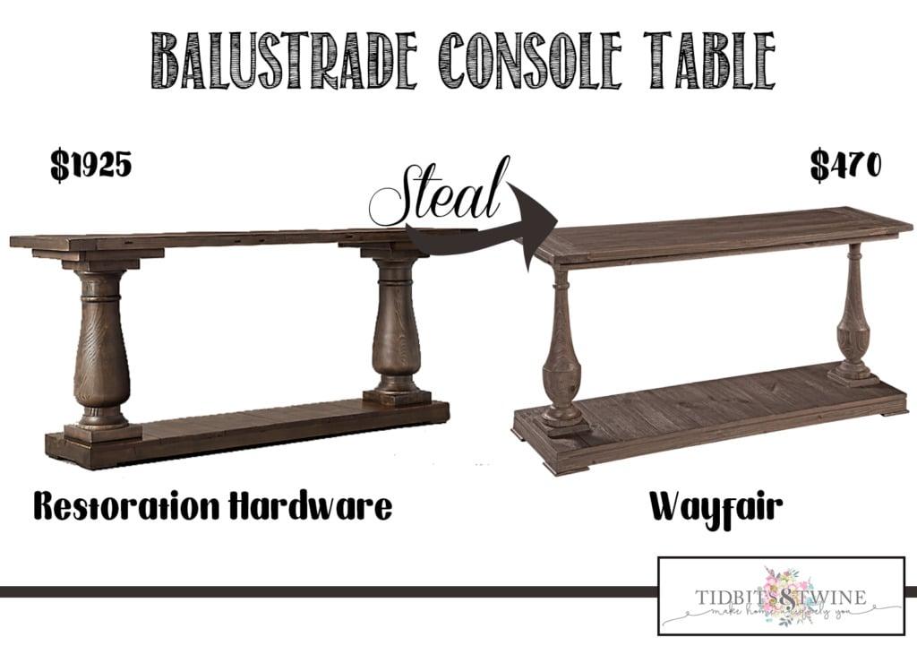 Image comparison Restoration Hardware balustrade table versus wayfair