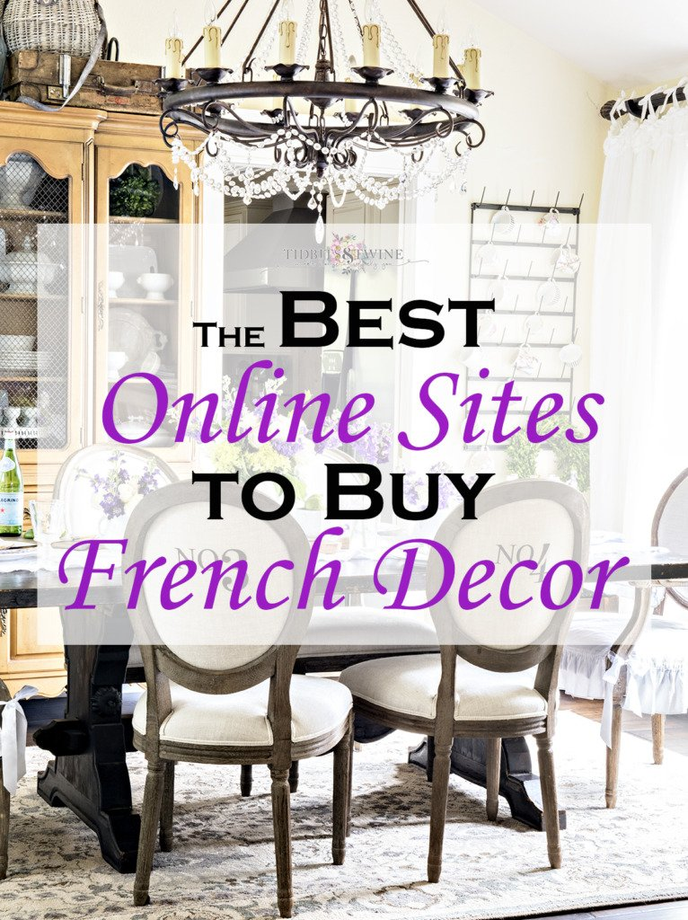 Tidbits&Twine french dining room graphic showing where to buy French decor
