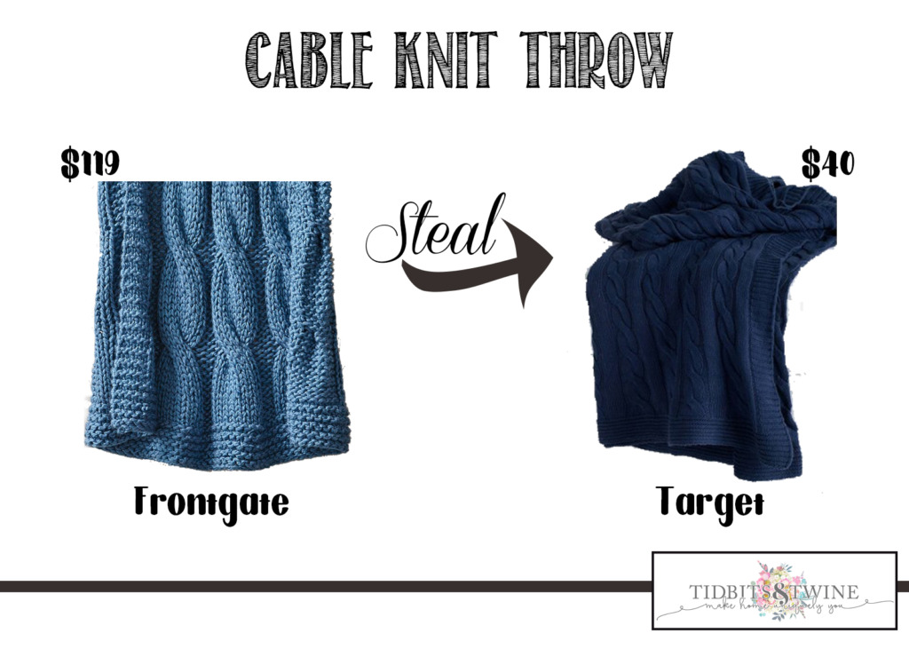 Frontgate cable knit throw cost comparison to the one from Target