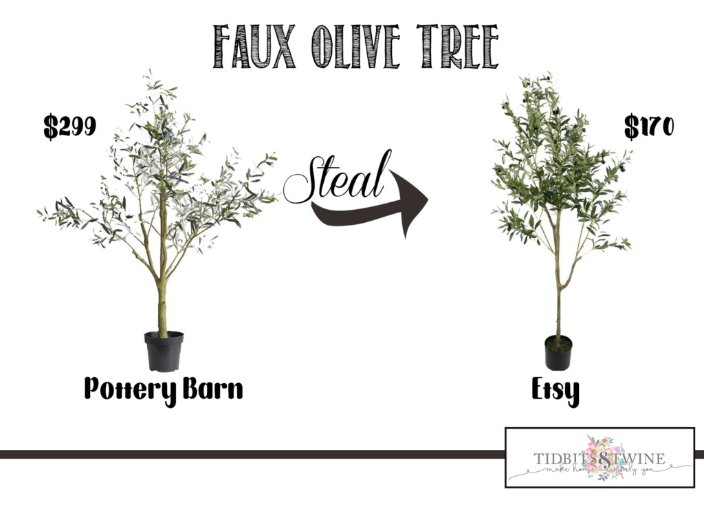Pottery Barn faux olive tree versus etsy décor steal