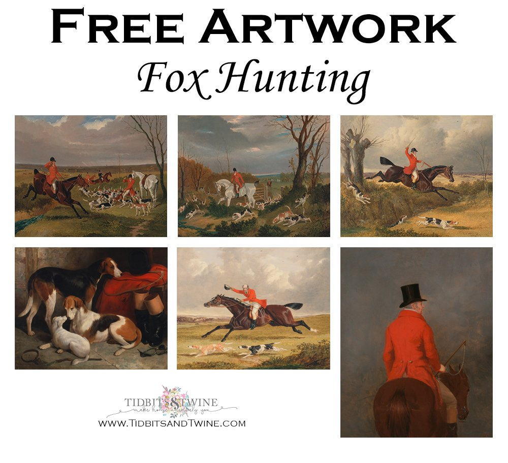 Collage of fox hunting artwork that can be digitally downloaded for free